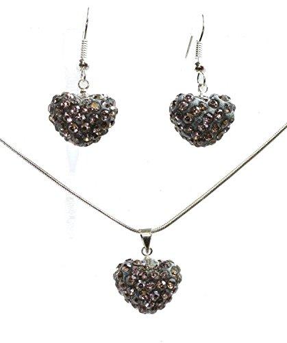 Earings Pewter (Crystal Clay Heart Penadant & Earing Shamball Set (Pewter))