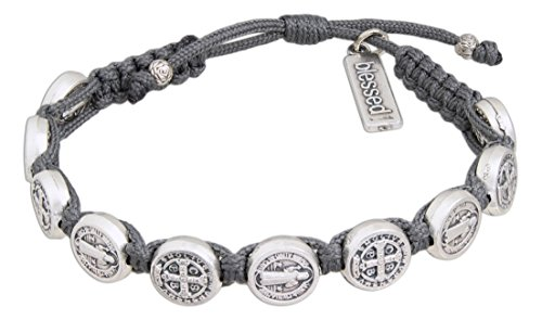 My Saint My Hero Handwoven Benedictine Blessing Bracelet, Adjustable (Silver Plated Medals on Gray)