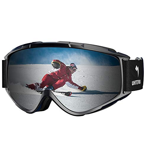 WhiteFang Ski Goggles Snow Snowboard Goggles Over Glasses Goggles Dual Layer Lens, Anti-Fog 100% UV400 Protection Men Women Youth (Black-Silver)