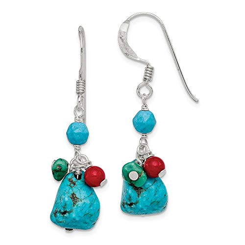 925 Sterling Silver Dyed Howlite/turquoise/red Coral Drop Dangle Chandelier Earrings Fine Jewelry Gifts For Women For Her