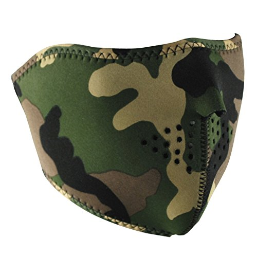 Zanheadgear WNFM118H Neoprene Half Face Mask (Woodland Camouflage) (Neoprene Biker Face Mask)