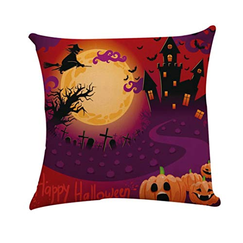 ❤JPJ(TM)❤️_Halloween products Halloween Pillowcase,1pcs Fashion Square Pillow Cover Cushion Case Toss Hidden Zipper Closure Pillowcase 45cm45cm -