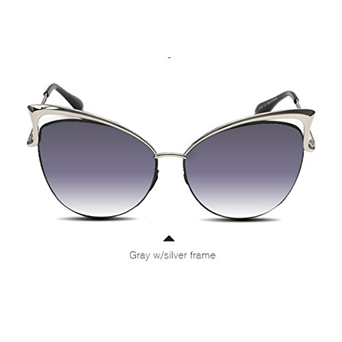 Dita Von Teese Mirrored Gradient Sunglasses Women Brand Design Cat Eye Metal Frame Glasses (gray w/ silver (Gray Cats Eye)
