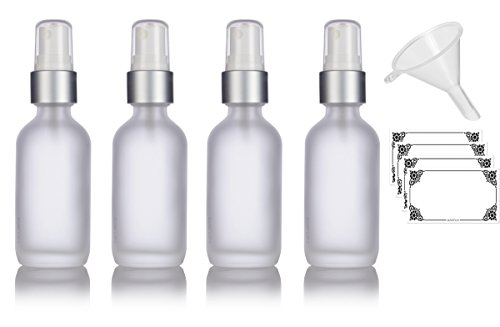 Silver 2 Oz Spray Bottle (2 oz Frosted Clear Glass Boston Round Silver and White Fine Mist Spray Bottle (4 pack) + Funnel and Labels for cosmetics, serums, essential oils, aromatherapy, food grade, bpa free)