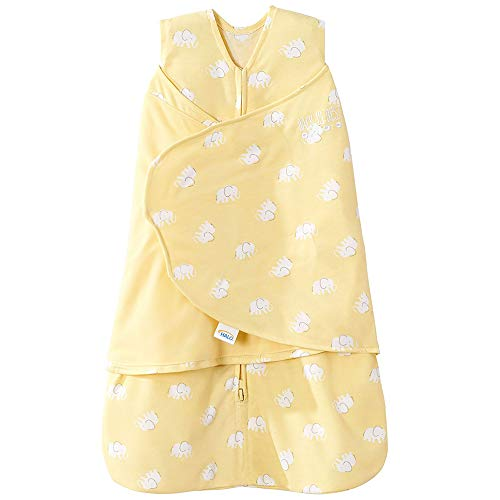 Halo Safe Dreams Poly Knit Swaddle Wearable Blanket, Yellow Elephant, Newborn