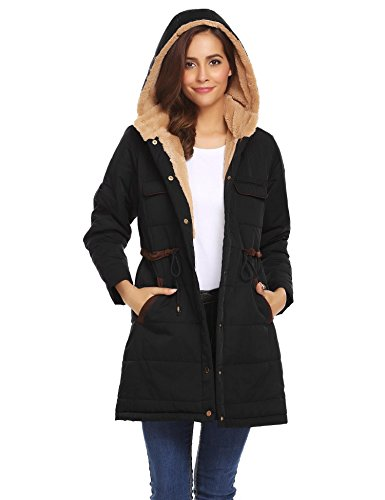 Soteer Women Winter Parka Hooded Coat Fleece Lined Parka Jackets with Pockets Black (Fully Lined Parka)