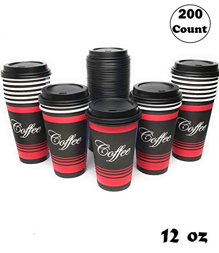 (Restaurant Grade 12 Oz Paper Coffee Cups with Black Dome Lids - 200 Count By EcoQuality Disposable Cups For Hot and Cold Drinks. Great For Tea, Soda, Shops, Cafes, and Concession Stands.)