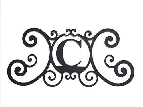 Bookishbunny Monogram Initial Letter A-Z Wrought Iron Metal Scrolled Door Wall Decoration Plaque Art, 24 x 11 inch 2mm Thick (C)