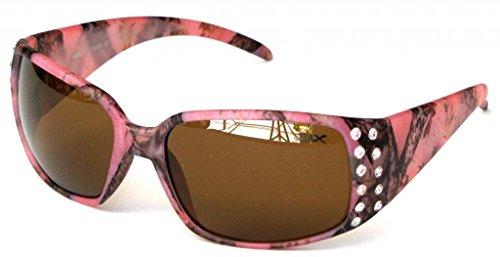 Vertx Camo Rhinestone Western Ladies Womens Fishing Hunting Camp Sunglasses Pink