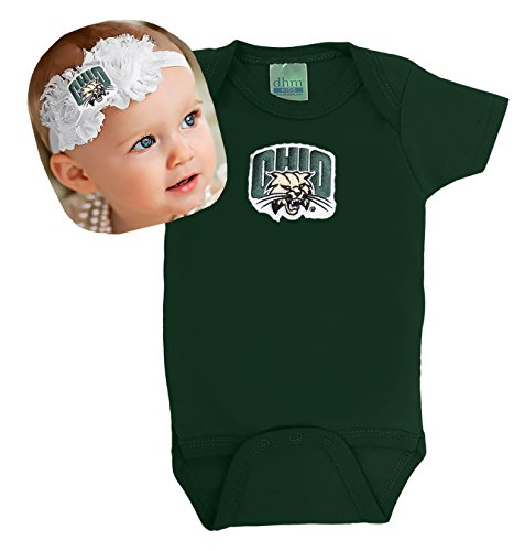 Future Tailgater Ohio Bobcats Baby Onesie and Shabby Flower Headband Set (6 Months/ 14