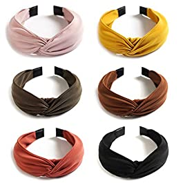 6 Pack Wide Plain Headbands,Unime Twist Knot Turban Headband Yoga Hair Band Fashion Elastic Hair Accessories for Women and Girls,Children 6 Colors