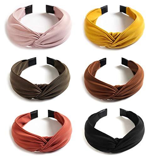 (6 Pack Wide Plain Headbands,Unime Twist Knot Turban Headband Yoga Hair Band Fashion Elastic Hair Accessories for Women and Girls,Children 6 Colors)
