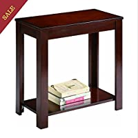 Small End Table Living Room Bedroom Nightstand With Lower Shelf Finish Very Dark Espresso Reddish Brown For Modern And Classic Decorated Spaces And E-book By TSR
