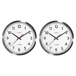 La Crosse Technology 404-1235UA-SS 14 inch UltrAtomic Analog Stainless Steel Wall Clock (2 Units)