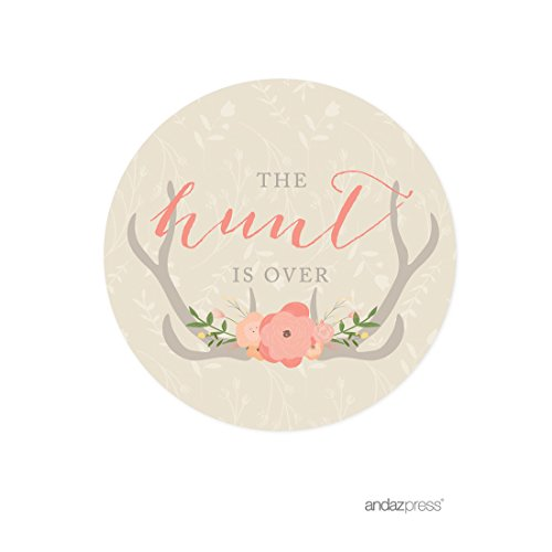 Andaz Press Woodland Deer Wedding Collection, Round Circle Label Stickers, The Hunt is Over, -