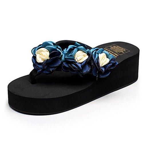 Las sudaderas acolchadas antideslizantes de la comodidad del verano de las señoras refrescan los zapatos de la playa de las flores de la arrastra 1