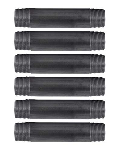 """Pipe Decor 1"""" x 6"""" Malleable Cast Iron Pipe, Pre Cut Connector, Industrial Steel Grey Fits Standard One Inch Black Threaded Pipes Nipples and Fittings, Build Vintage DIY Furniture, Six Inches, 6 Pack"""