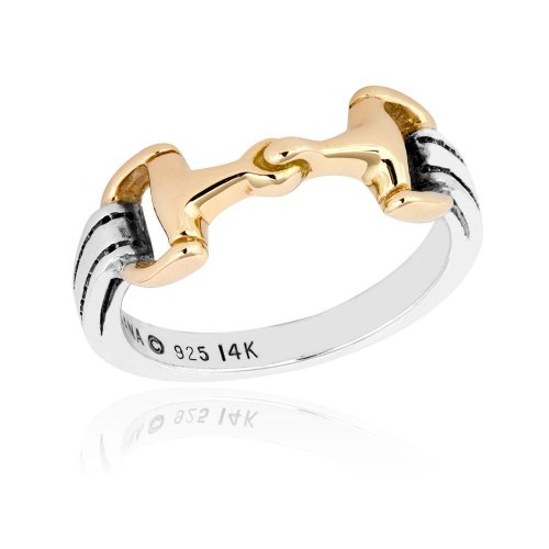 Kabana Horse Snaffle Bit 14K Yellow Gold and Sterling Silver Ring ()