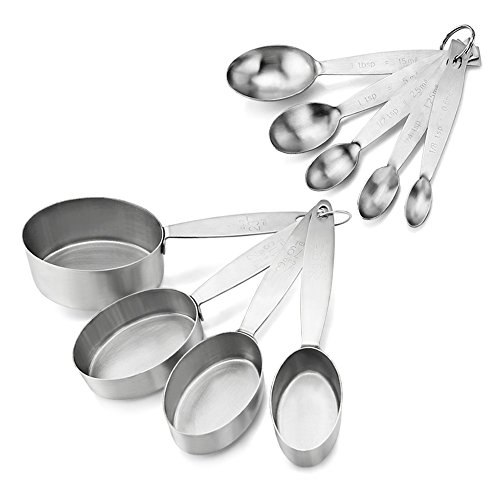 Spoon Oval Large - New Star Foodservice 42931 Commercial Quality Stainless Steel Oval Measuring Cups and Spoons Combo Set