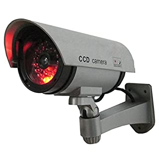 SABRE Dummy Security Camera – Realistic Bullet CCD Design with Blinking LED Light, For Outdoor or Indoor Use, Ideal for Commercial Business Security or Residential, Easy to Install – Silver