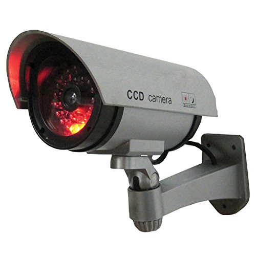 SABRE Dummy Security Camera - Realistic Bullet CCD Design with Blinking LED Light, For Outdoor or Indoor Use, Ideal for Commerical Business Security or Residential, Easy to Install - Silver