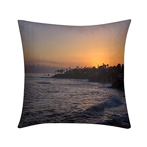 Custom Soft Wrinkle-Resistant Throw Pillow Sunset Off Laguna Beach Design for Sofa Bedroom Office Car Decorate Pillow