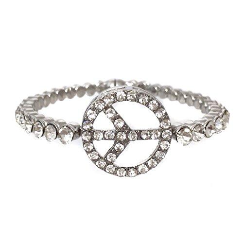 Gypsy Jewels Peace Sign Fancy Rhinestone Magnetic Bangle Silver Tone Formal Prom Bracelet
