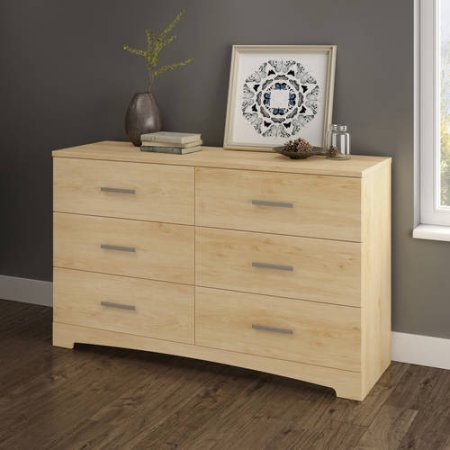 6-Drawer Double Dresser, Multiple Finishes, 6 Practical Drawers Contemporary Style, Metal Drawer Slides, Wood Composite, Black, Natural Maple