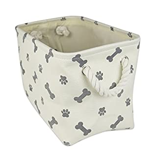 """DII Bone Dry Small Rectangle Pet Toy and Accessory Storage Bin, 14x8x9"""", Collapsible Organizer Storage Basket for Home Décor, Pet Toy, Blankets, Leashes and Food-Gray Bone"""