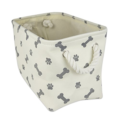 Bone Dry DII Small Rectangle Pet Toy and Accessory Storage Bin, 14x8x9, Collapsible Organizer Storage Basket for Home Décor, Pet Toy, Blankets, Leashes and Food-Gray Bone