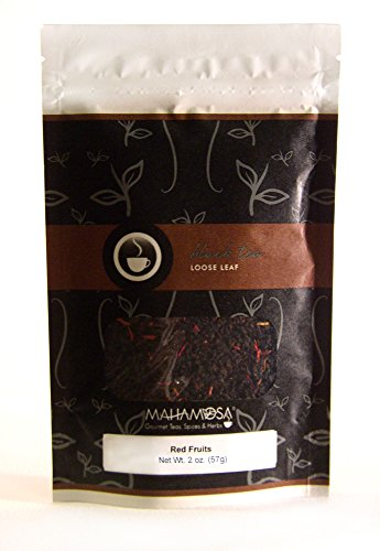 Mahamosa Red Fruits Tea 2 oz (cranberry, raspberry, strawberry) - Flavored Black Tea Blend Loose Leaf (Looseleaf)