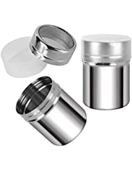 2 Pack Stainless Steel Powder Shakers, Mesh Shaker Powder Cans for Coffee Cocoa Cinnamon Powder Sugar Pepper by Accmor