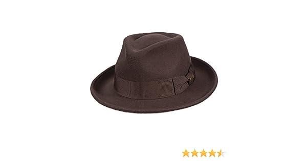 95b6eb54509fa0 Amazon.com: SCALA CLASSICO CHOCOLATE RETRO STYLE 2-3/8 INCH BRIM CRUSHER  WOOL FELT FEDORA (DF109): Clothing