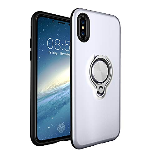 HONTECH Compatible Apple iPhone Xs Max 6.5 2018 Case, Magnetic Car Holder 360 Rotating Ring Kickstand Cover, White