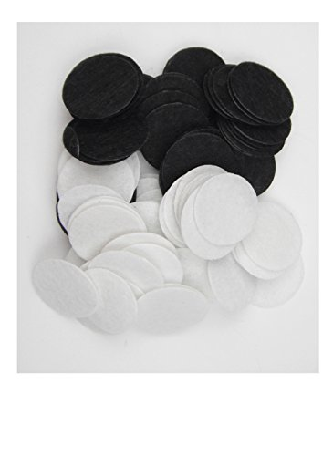 ALL in ONE 100pcs Round Felt Padded Center Trim Flower Backs Sew on Glue On (25mm, Black+White) - Felt Center