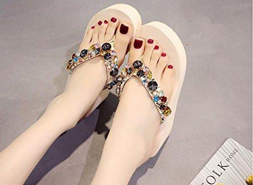 Chaussures Sur De C Sauvage De Femmes Hauts Mode Portant Un À Glissement Mode Coin Pantoufles 37 Sandales Avec C Talons Tongs Un couleur Pantoufles Taille Plates Plage Sandales wZq1xX