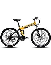 "MACCE Unisex Adult 21 Speed Folding Mountain Bike, Spoked Wheel 26"", Yellow, Size L"