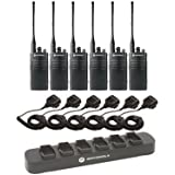 6 Pack of Motorola RDU4100 Two way Radio Walkie Talkies with Speaker Mics and 6-Bank Charger