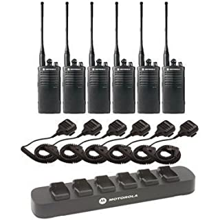 Discount 6 Pack of Motorola RDU4100 Two way Radio Walkie Talkies with Speaker Mics and 6-Bank Charger