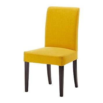 IKEA HENRIKSDAL Stuhl in braunschwarz; Bezug Skiftebo gelb: Amazon ...