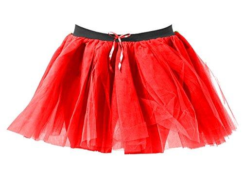 Nouveau Costume 80 Jupe Over Net Dames Robe Mini Couches Tutu Rouge Poule Danse 3 Fantaisie Fte Janisramone Halloween Femmes ' PFxEf