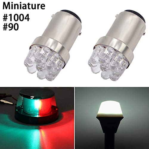 Shangyuan 90 1004 BA15D Miniature Marine LED Bulb Boat Bow Light Navigation Light Stern Light Port Light Starboard Light Pole Light Anchor Light Running Transom Mount Lights White DC12V(Pack of 2)
