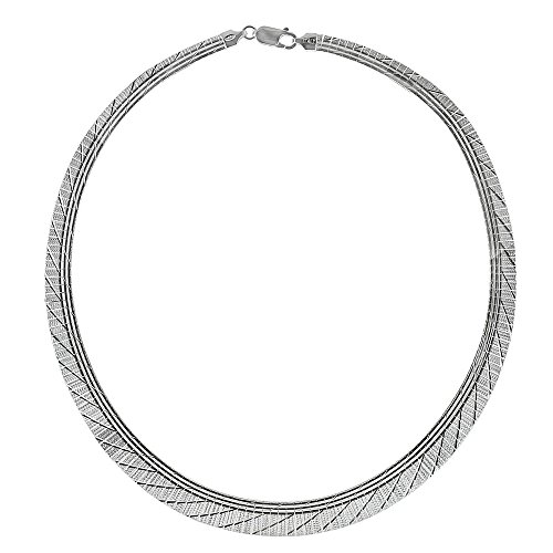 10mm Omega Cleopatra Sterling Silver Graduated Diamond-cut Choker Necklace