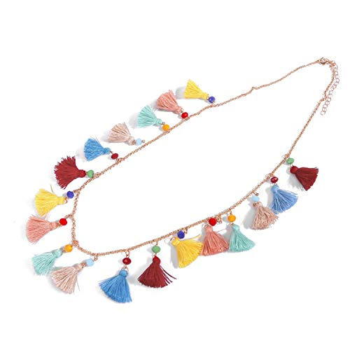 Lolji Decorations Long Necklace Bohemian Multi-Colored Tassel Elegant Jewelry Choker Adjustable for Women Girls Ladies Gift for Mother's Day Birthday Christmas Holidays