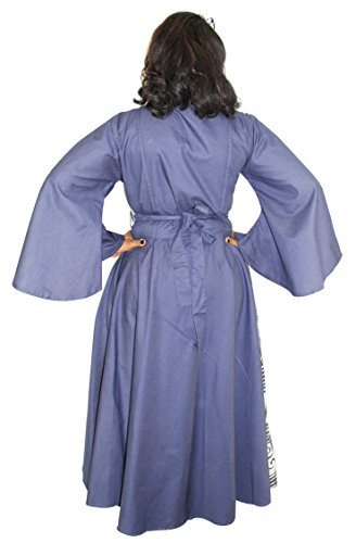 Denim Assorted Print Wrap Maxi Dress with Bell Sleeves (Gray & Blue) by African Planet (Image #3)