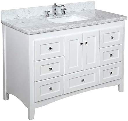 Abbey 48 Inch Bathroom Vanity Carrara White Includes White