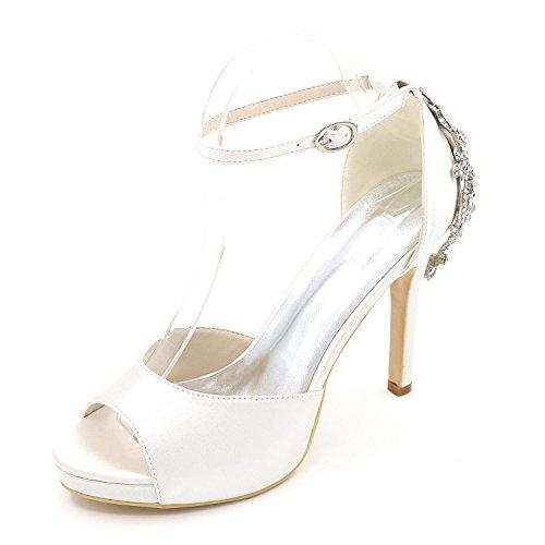 L@YC Zapatos De Boda De Las Mujeres Confort De Tacones altos BáSico De SatéN De La Bomba Vestido De Novia Partido Y Noche Rhinestone Perla ImitacióN White
