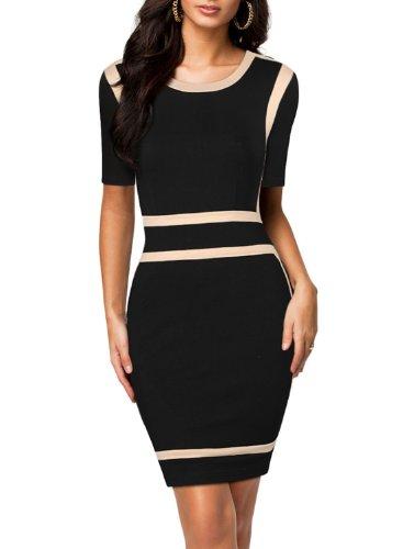 Miusol Women's Scoop Neck Optical Illusion Busniess Bodycon Dress, Black, Large -
