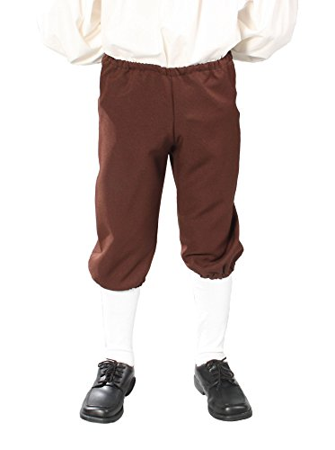 Alexanders Costumes Kids Knicker Pants, Brown, Large (Colonial Pirate Costume)