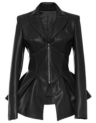 LifeShe Womens Motorcycle Tunic Gothic Faux Leather PU Jackets Coats (Black, L) ()